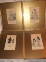 4 ANTIQUE FRAMED GLAZED TINTED PRINTS MODES DE PARIS HIS HERS FASHIONS SJ FULLER